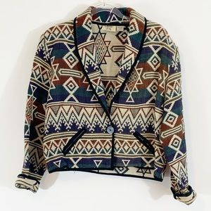 Vintage One-Button Tribal Jacket